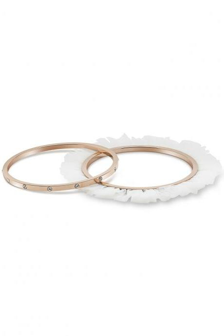 Ballerina Bangles Bracelets Set of 2 for Women, Rose Gold Plated with Inlayed Zircon