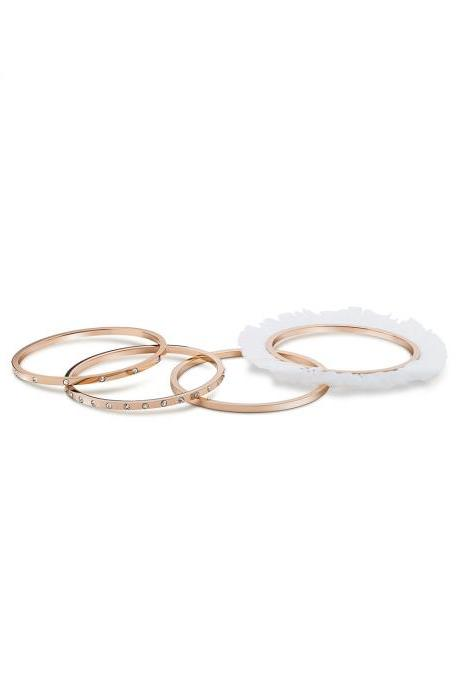Ballerina Bangles Bracelets Set of 4 for Women, Rose Gold Plated with Inlayed Zircon