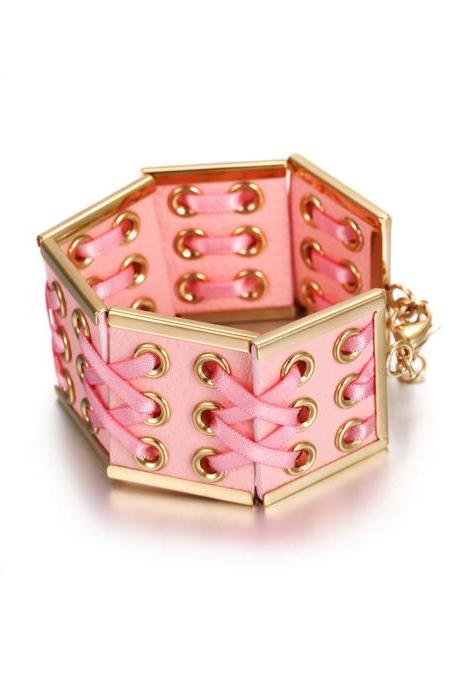Women's Pink Braided Leather Ballerina Bracelet, Gold Plated