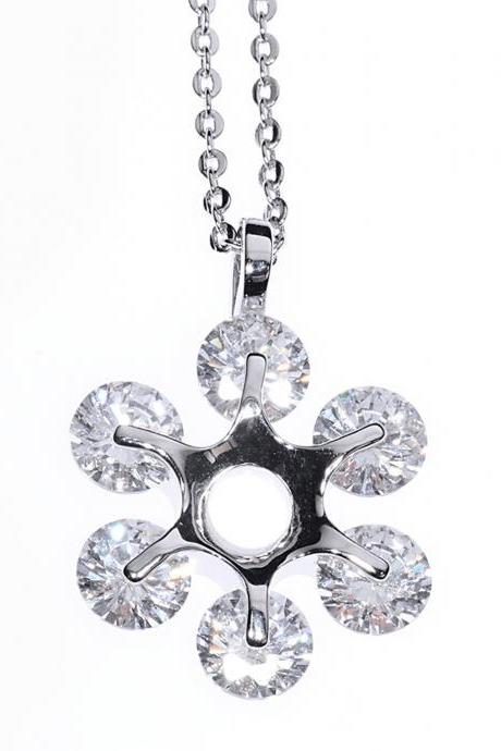Pendant Necklace / Snowflake Necklace / Flower Necklace / Snowflake Pendant / Flower Pendant / Zircon Necklace / Crystal Necklace / Silver