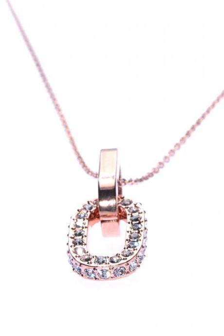 Austrian Crystal / Rose Gold Necklace / Crystal Necklace / Chain Necklace / Classy Jewelry / Short Necklace / Linked Circles / Rose Gold