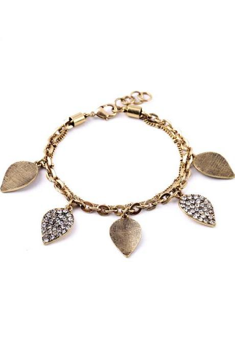 Leaf Bracelet / Chain Bracelet / Gold Bracelet / Fall Leaves / Gold Leaf Bracelet / Gold Chain / Multichain / Charm Bracelet / Glass Stone