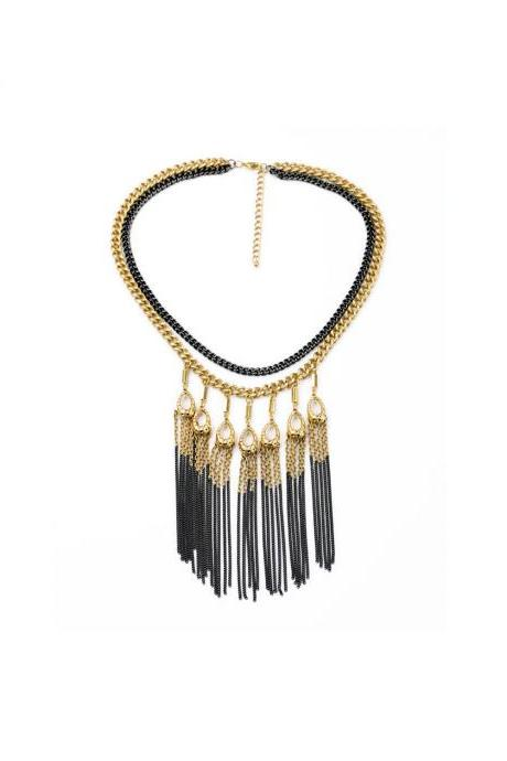 Tribal Necklace / Big Chunky Necklaces / Bohemian Necklace / Unique Necklace / Long Tassel Necklace / Statement Necklace / Matte Black Gold